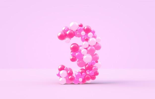 Balões doces doces cor-de-rosa número 3. Foto Premium