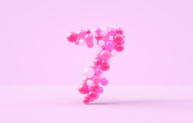 Balões doces doces rosa número 7. Foto Premium