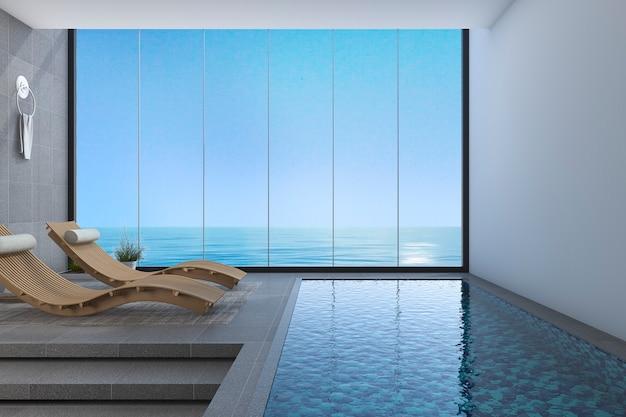 Banco de madeira da cama da rendição 3d perto da opinião da associação e do mar da janela com projeto moderno Foto Premium