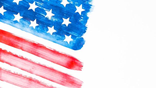 Bandeira americana dos estados unidos em listras vermelhas e azuis com estrelas no fundo branco Foto gratuita