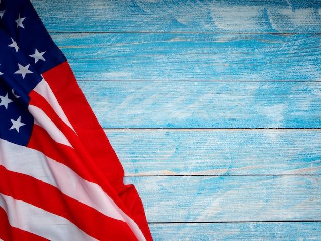 Bandeira americana, ligado, azul, madeira, fundo Foto Premium