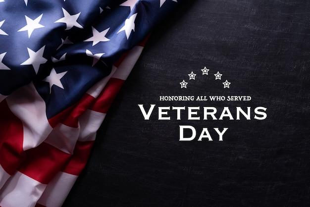 Bandeira americana para o dia dos veteranos Foto Premium