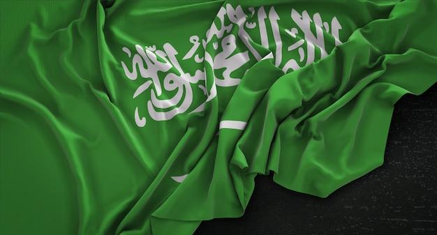 Bandeira da arábia saudita enrugada no fundo escuro 3d render Foto gratuita