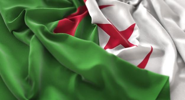 Bandeira da argélia ruffled beautifully waving macro close-up shot Foto gratuita