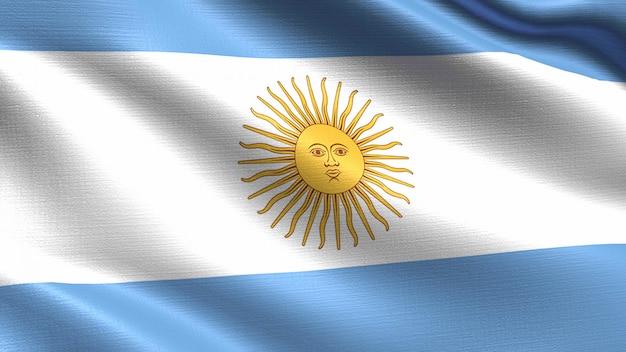 Bandeira da argentina, com textura de tecido a acenar Foto Premium