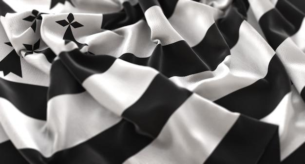 Bandeira da bretanha ruffled beautifully waving macro close-up shot Foto gratuita