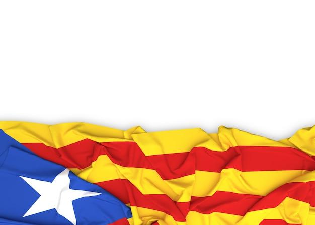 Bandeira da catalunha em fundo branco com traçado de recorte Foto Premium