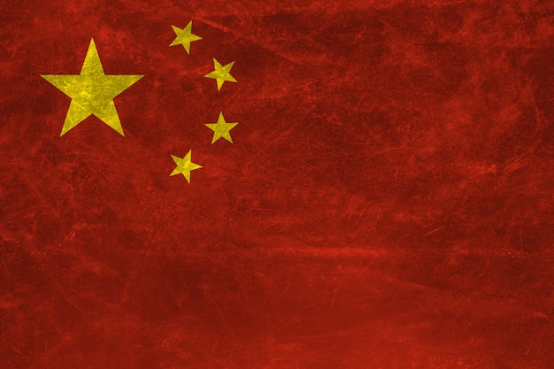 Bandeira da china com textura grunge. Foto Premium