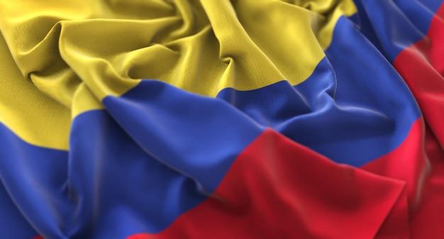 Bandeira da colômbia ruffled beautifully waving macro close-up shot Foto gratuita