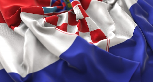 Bandeira da croácia ruffled beautifully waving macro close-up shot Foto gratuita