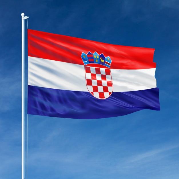 Bandeira da croácia voando Foto Premium