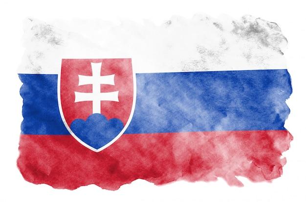 Bandeira da eslováquia é retratada em estilo aquarela líquido isolado no branco Foto Premium