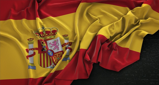 Bandeira da espanha enrugada no fundo escuro 3d render Foto gratuita