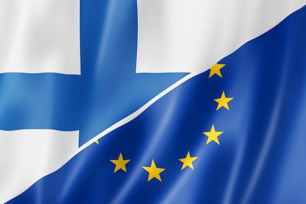 Bandeira da finlândia e da europa Foto Premium