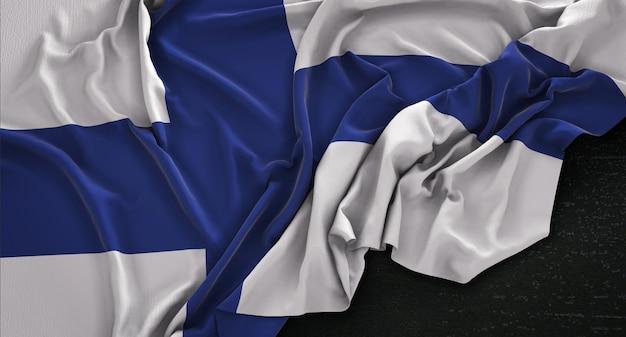 Bandeira da finlândia enrugada no fundo escuro 3d render Foto gratuita