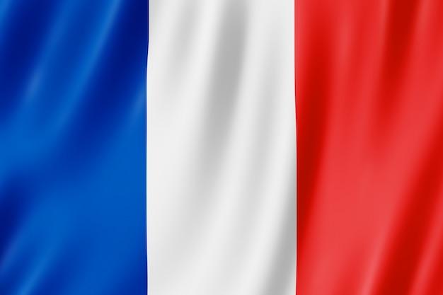 Well-known Bandeira da França. Ilustração 3D da bandeira francesa acenando  SD26