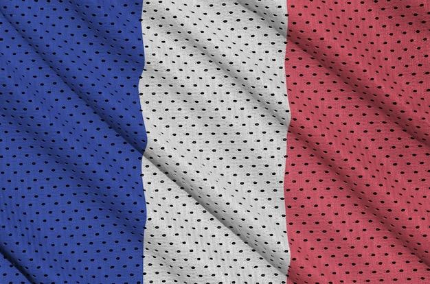 Bandeira da frança impressa em uma malha de nylon de poliéster Foto Premium
