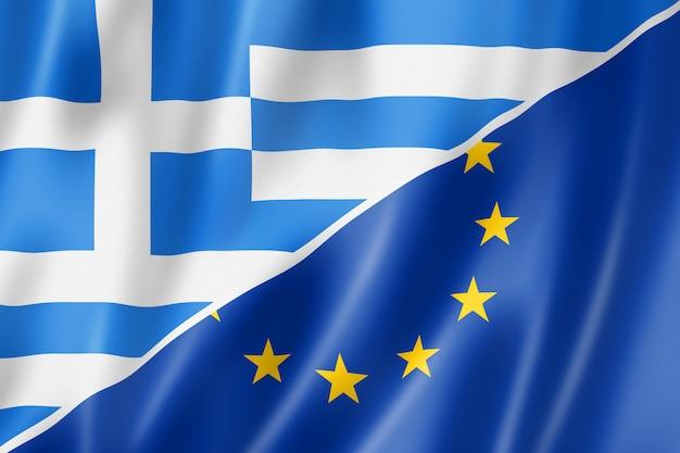 Bandeira da grécia e da europa Foto Premium