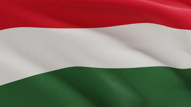 Bandeira da hungria balançando ao vento, micro textura de tecido em renderização 3d de qualidade Foto Premium