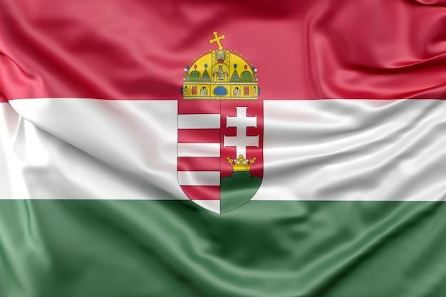 Bandeira da hungria com brasão Foto gratuita