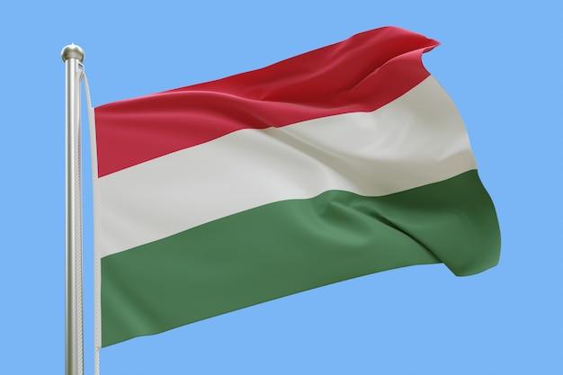 Bandeira da hungria no mastro da bandeira balançando ao vento isolado em fundo azul Foto Premium
