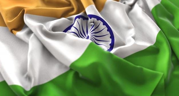 Bandeira da índia ruffled beautifully waving macro close-up shot Foto gratuita