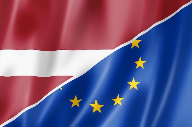 Bandeira da letônia e europa Foto Premium
