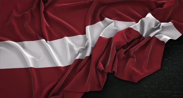 bandeira da letônia enrugada no fundo escuro 3d render baixar