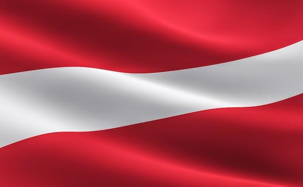 bandeira da letónia ilustração 3d da ondulação da bandeira da