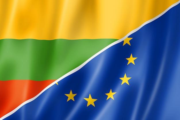 Bandeira da lituânia e europa Foto Premium