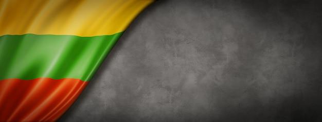 Bandeira da lituânia na parede de concreto. faixa panorâmica horizontal. ilustração 3d Foto Premium