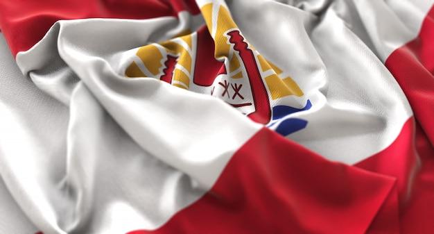 Bandeira da polinésia francesa ruffled beautifully waving macro close-up shot Foto gratuita