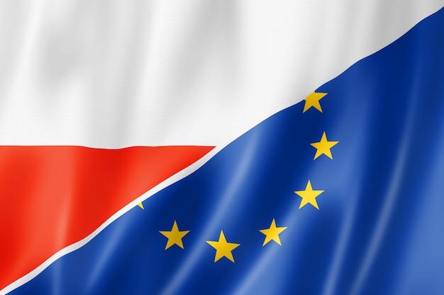 Bandeira da polônia e europa Foto Premium