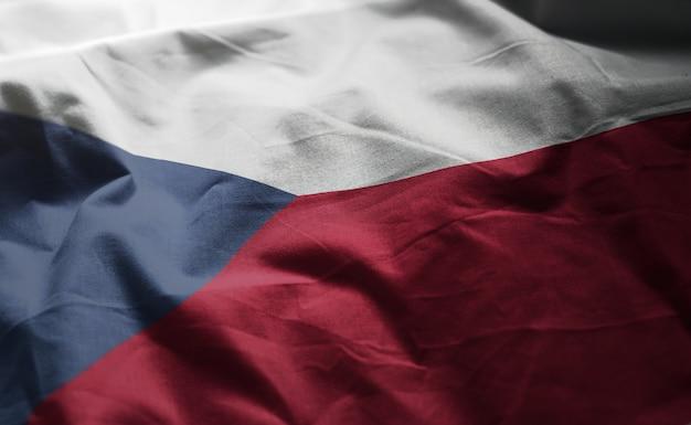Bandeira da república checa amarrotado close up Foto Premium