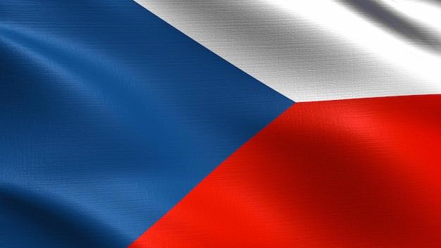Bandeira da república checa, com textura de tecido a acenar Foto Premium