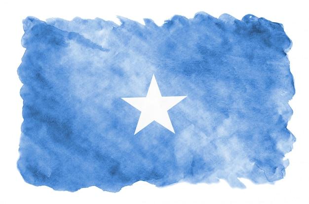 Bandeira da somália é retratada em estilo aquarela líquido isolado Foto Premium