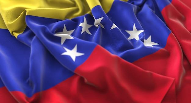 Bandeira da venezuela ruffled beautifully waving macro close-up shot Foto gratuita