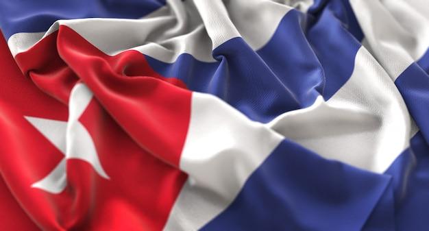 Bandeira de cuba ruffled beautifully waving macro close-up shot Foto gratuita