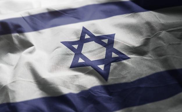 Bandeira de israel amarrotada close up Foto Premium