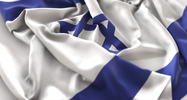 Bandeira de israel ruffled beautifully waving macro close-up shot Foto gratuita