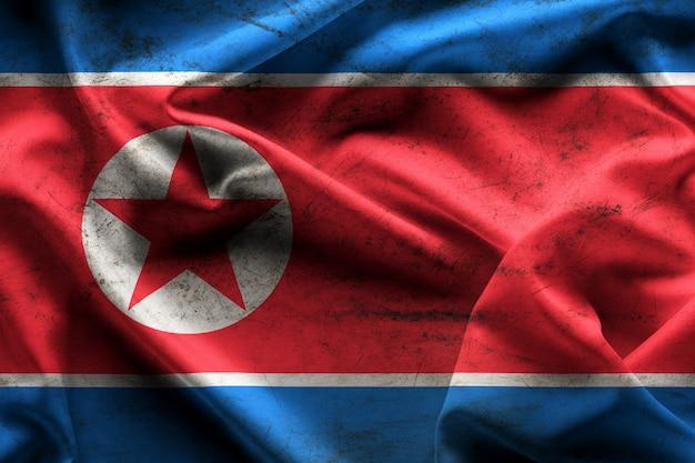 Bandeira de ondulação da textura e do fundo da coreia do norte. Foto Premium