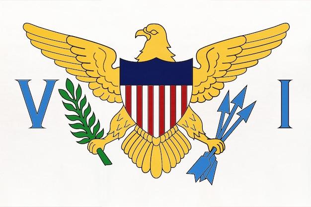 Bandeira de tecido nacional das ilhas virgens americanas, fundo de têxteis. símbolo do território dos estados unidos. Foto Premium
