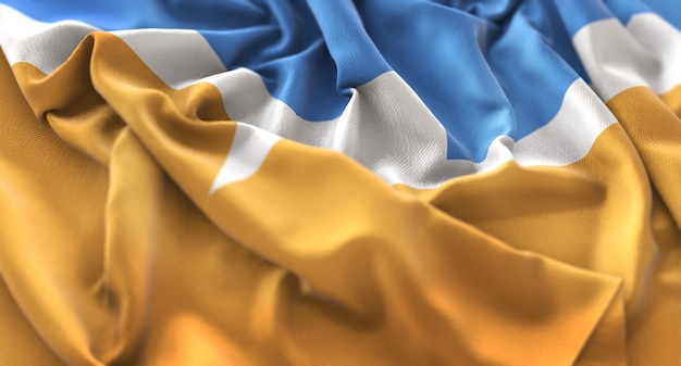 Bandeira de tierra del fuego ruffled beautifully waving macro close-up shot Foto gratuita