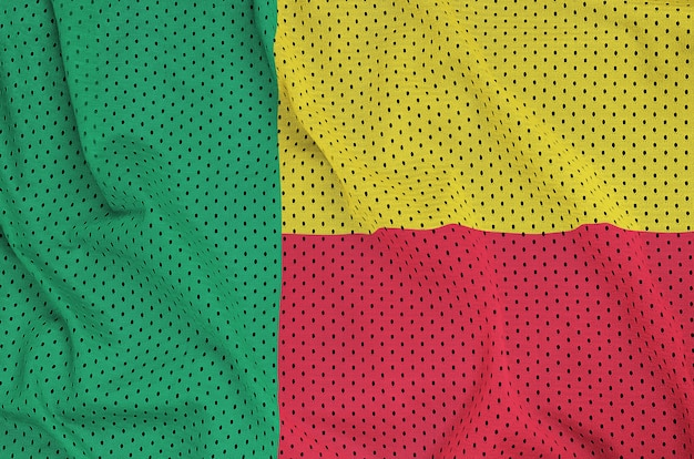 Bandeira do benin impressa em malha de nylon poliéster Foto Premium