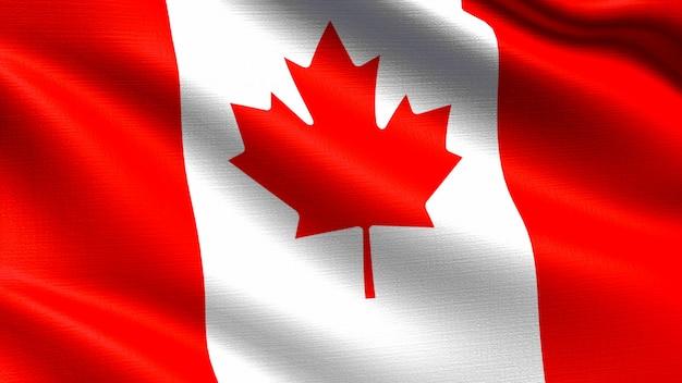 Bandeira do canadá, com textura de tecido a acenar Foto Premium
