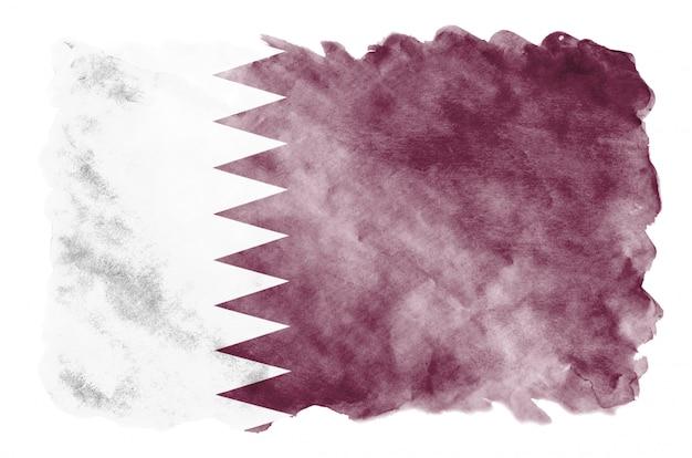 Bandeira do qatar é retratada em estilo aquarela líquido isolado no branco Foto Premium