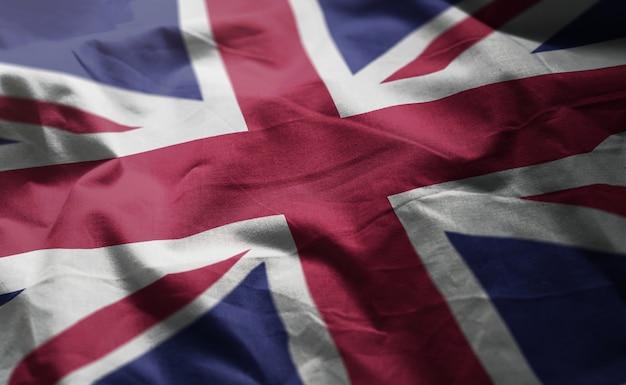 Bandeira do reino unido amarrotada close up Foto Premium