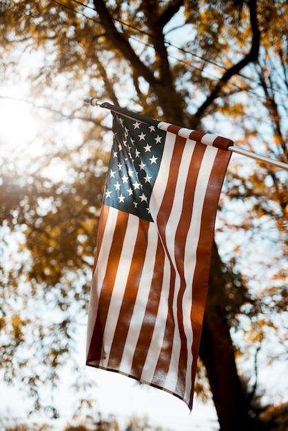 Bandeira dos estados unidos em um tiro vertical com um desfocado Foto gratuita