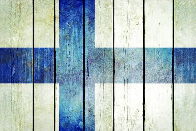 Bandeira grunge de madeira da finlândia. Foto gratuita