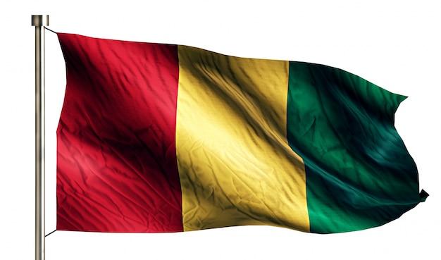 Bandeira nacional da guiné isolated 3d white background Foto gratuita